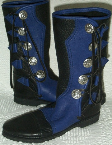 5 button womens leather moccasins boot black blue