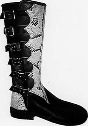 6 buckle black buffalo python men's biker boots
