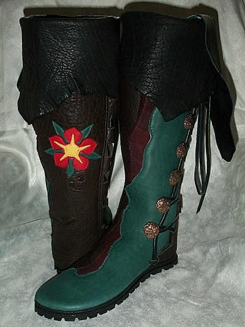 knee high mens leather boots moccasins black green flower applique