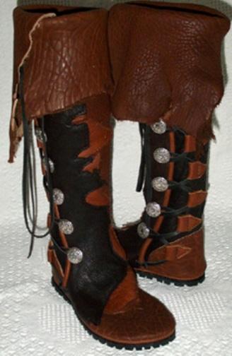 mens knee high buffalo moccasins redwood black tobacco natural edge cuff