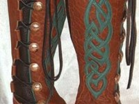 green celtic overlay knee high tobacco womens leather moccasins