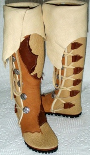 knee high sand saddle whiskey natural cuff moccasins