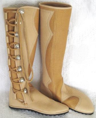 womens knee high custom leather moccasins sand buffalo