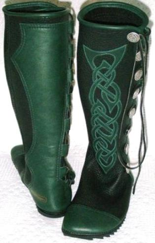 kneehigh black green celtic applique custom buffalo moccasins