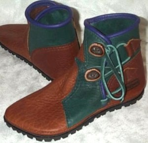 2 button leather moccasins tobacco green purple