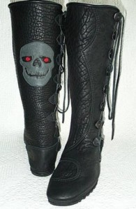 mens knee high black buffalo moccasins skull