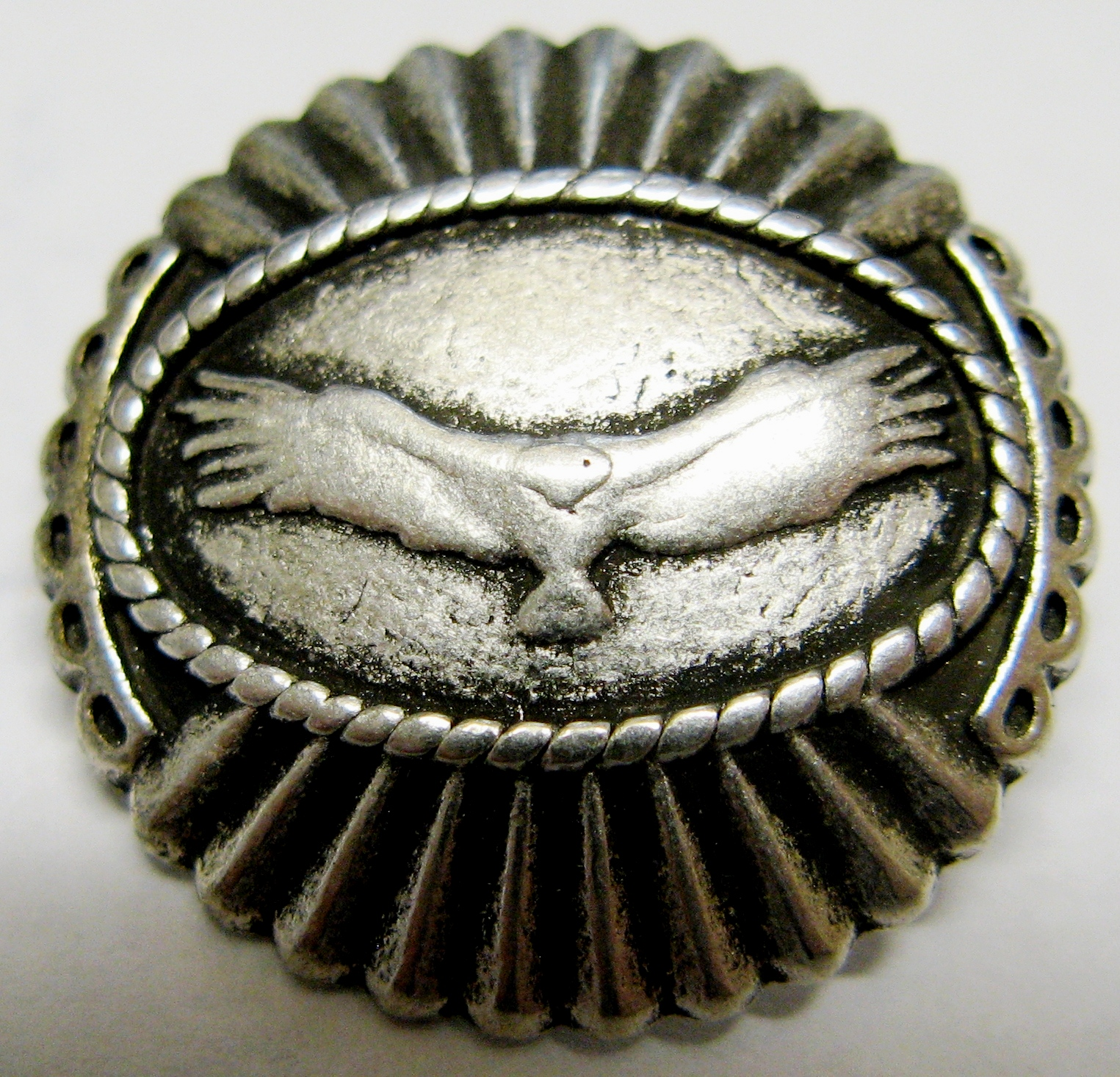 silver raptor metal button