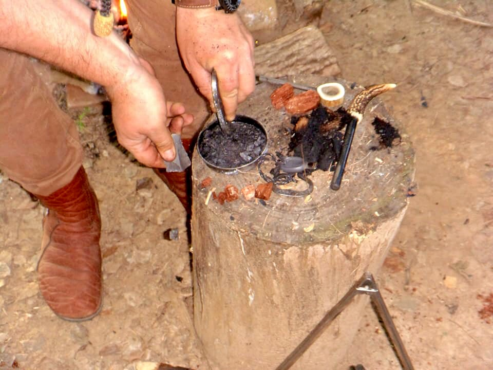 moccasins making fire