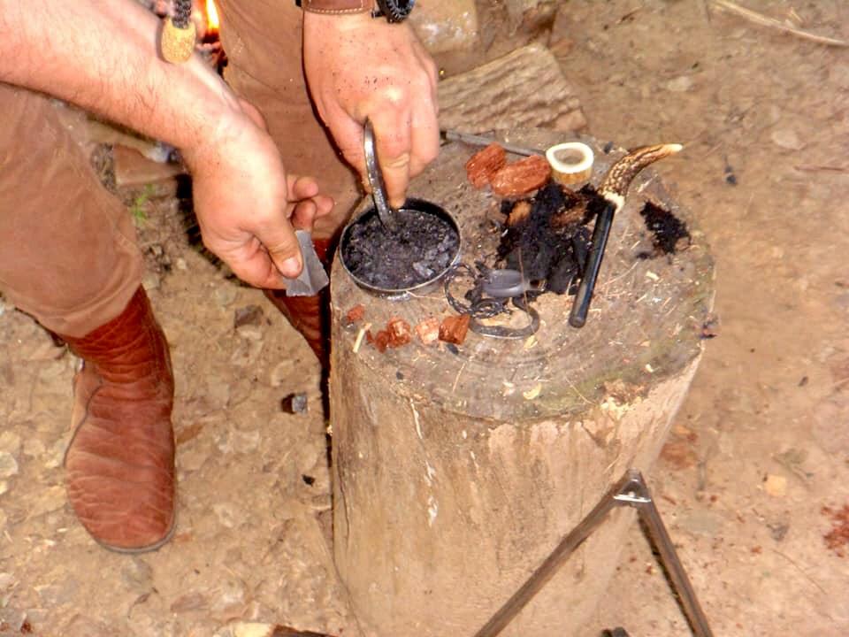 moccasins making fire
