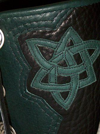 green leather celtic knot on moccasins