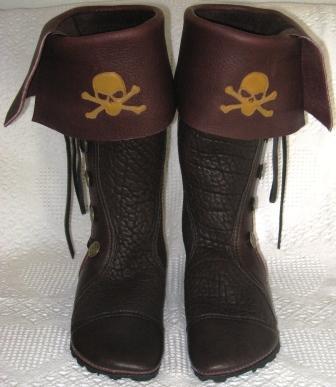 pirate boots skull crossbones buffalo moccasins cuff