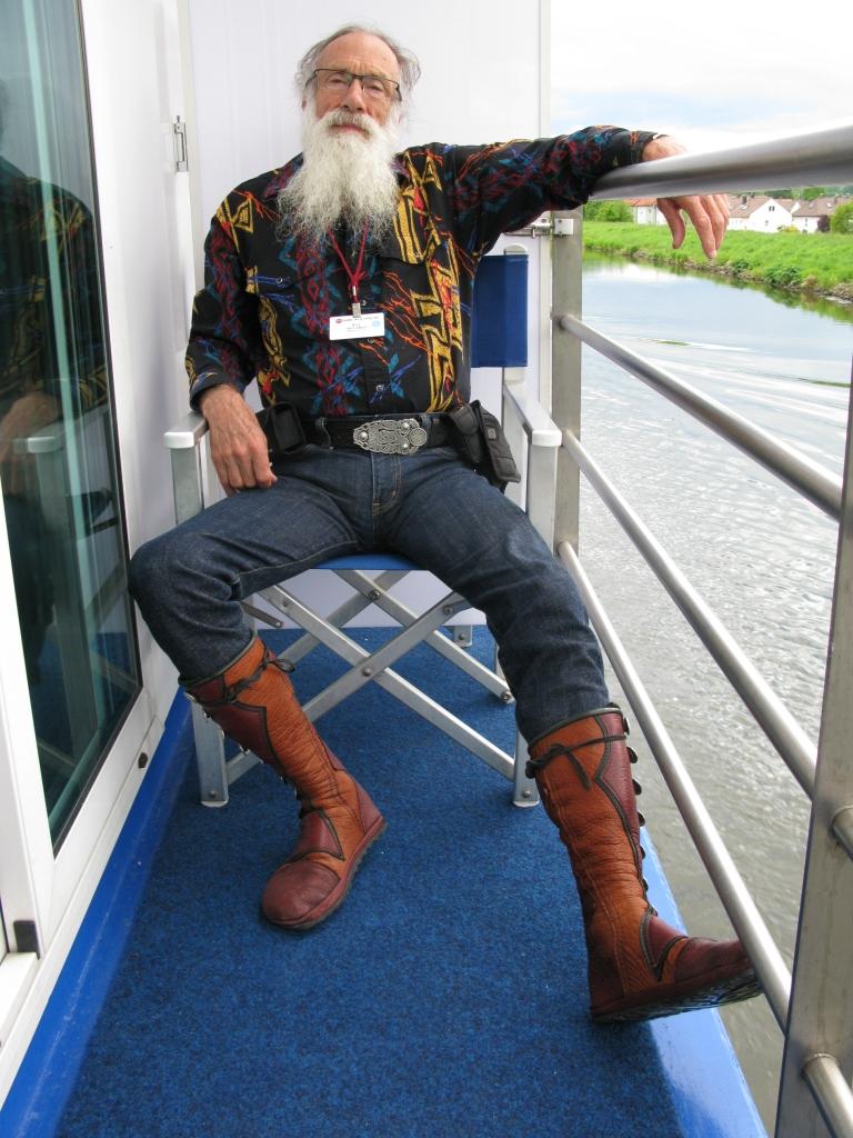 knee high men's moccasins rhine river boat