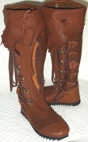 knee high natural edge tobacco saddle and redwood buffalo leather moccasins