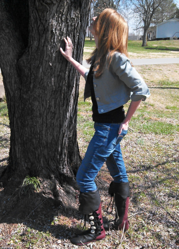 women's custom tall moccasins black redwood cuff
