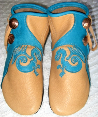 turquoise dragon moccasins