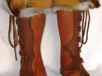 fox fur cuff kneehigh moccasins boots