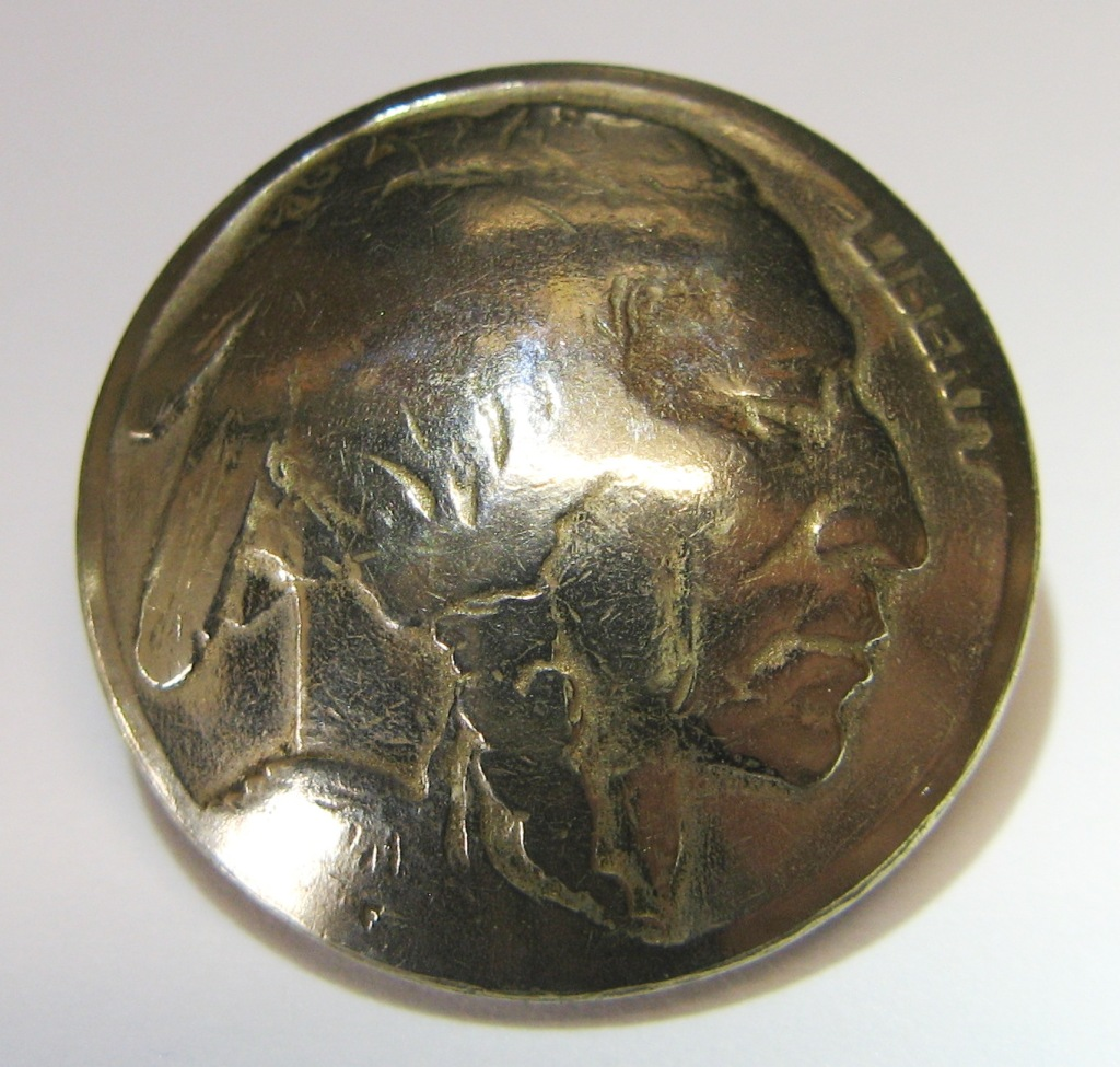 Indian head nickel genuine coin button