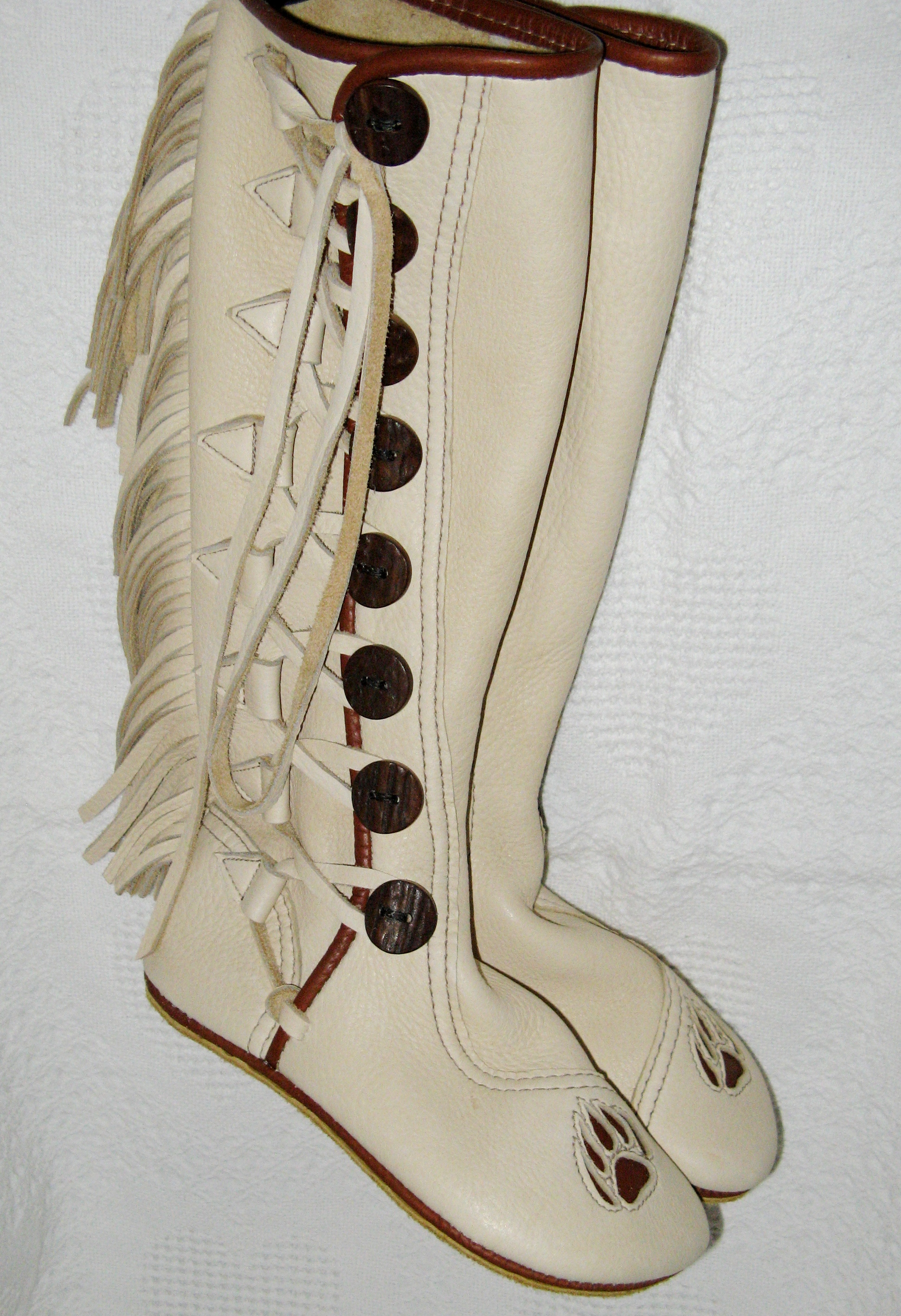 smoke knee high bear claws moccasins
